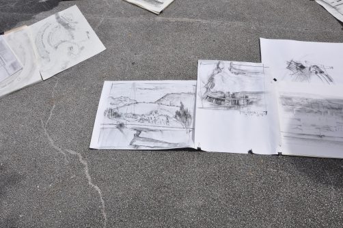 Finished sketches at the War Memorial.