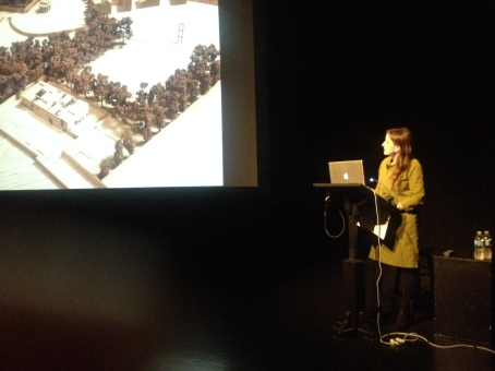 Ruth O'Herlihy, of the Dublin based firm McCullough Mulvin Architects, lecturing at the LSPU Hall.